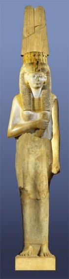Proposition de reconstitution de la statue de la reine blanche (i.e. Merytamon), en s'inspirant du colosse de la reine découvert à Akhmîm.