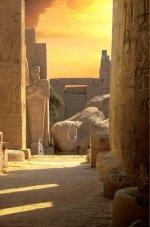 Le colosse fracassé de Ramsès II, vu depuis la grande salle hypostyle. © Christiane Hachet